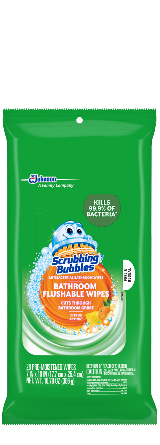 Scrubbing Bubbles Antibacterial Flushable Wipes